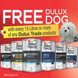 Free Dulux dog with every 15 litres of Dulux Trade products